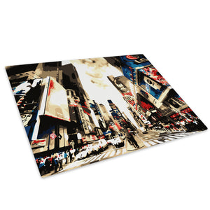 Colourful Times Square Glass Chopping Board Kitchen Worktop Saver Protector - C012-Scenic Chopping Board-WhatsOnYourWall