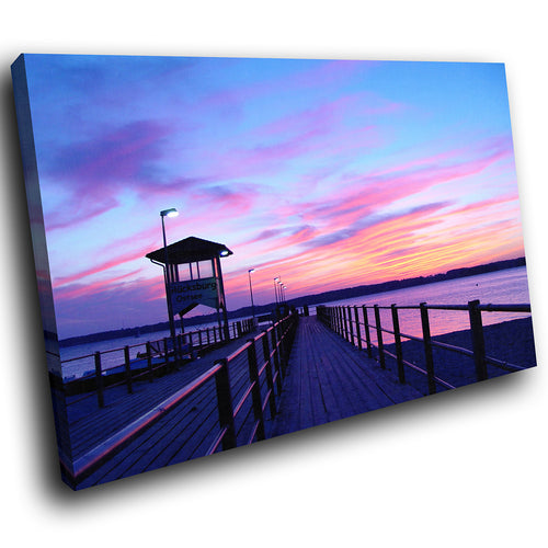 SC013 Framed Canvas Print Colourful Modern Scenic Wall Art - Pink Blue Sunset Pier Nature-Canvas Print-WhatsOnYourWall