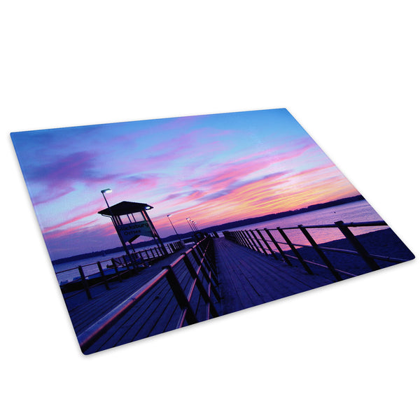 Pink Blue Sunset Pier Glass Chopping Board Kitchen Worktop Saver Protector - C013-Scenic Chopping Board-WhatsOnYourWall