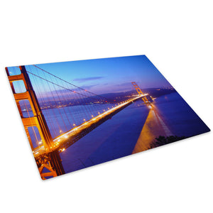 Golden Gate Bridge Red Blue Glass Chopping Board Kitchen Worktop Saver Protector - C014-Scenic Chopping Board-WhatsOnYourWall