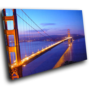 SC014 Framed Canvas Print Colourful Modern Scenic Wall Art - Golden Gate Bridge Red Blue-Canvas Print-WhatsOnYourWall