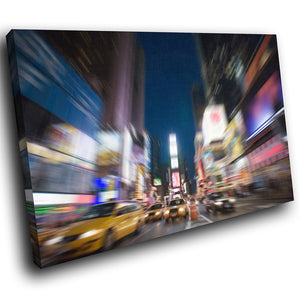 SC015 Framed Canvas Print Colourful Modern Scenic Wall Art - Times Square New York Cool-Canvas Print-WhatsOnYourWall