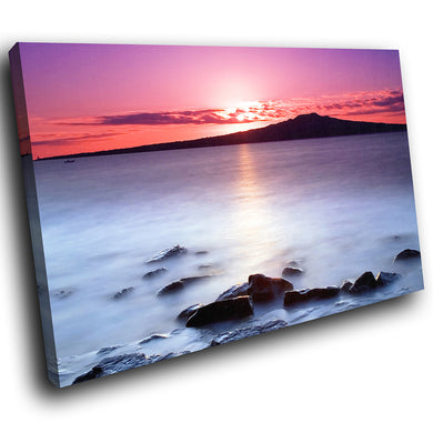 SC016 Framed Canvas Print Colourful Modern Scenic Wall Art - Pink Black White Sunset Nature-Canvas Print-WhatsOnYourWall