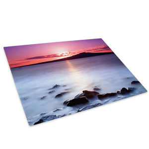 Pink Black White Sunset Glass Chopping Board Kitchen Worktop Saver Protector - C016-Scenic Chopping Board-WhatsOnYourWall