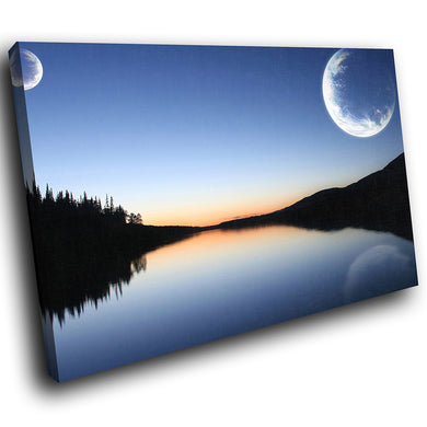 SC017 Framed Canvas Print Colourful Modern Scenic Wall Art - Blue Black White Sunset Nature-Canvas Print-WhatsOnYourWall