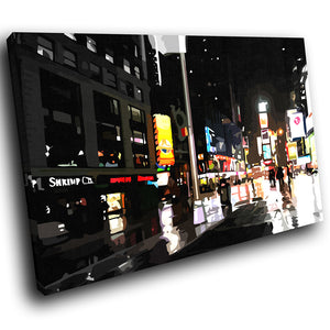 SC019 Framed Canvas Print Colourful Modern Scenic Wall Art - Colourful Retro New York-Canvas Print-WhatsOnYourWall