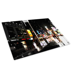 Colourful Retro New York Glass Chopping Board Kitchen Worktop Saver Protector - C019-Scenic Chopping Board-WhatsOnYourWall