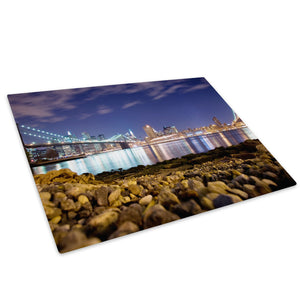 Brooklyn Bridge New York Glass Chopping Board Kitchen Worktop Saver Protector - C020-Scenic Chopping Board-WhatsOnYourWall