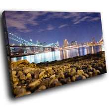 SC020 Framed Canvas Print Colourful Modern Scenic Wall Art - Brooklyn Bridge New York-Canvas Print-WhatsOnYourWall