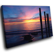 SC023 Framed Canvas Print Colourful Modern Scenic Wall Art - Blue Pink Sea Sunset Nature-Canvas Print-WhatsOnYourWall