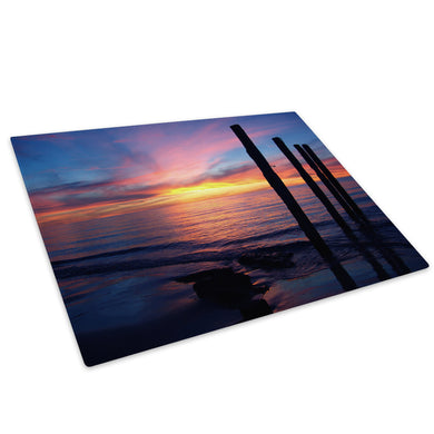 Blue Pink Sea Sunset Nature Glass Chopping Board Kitchen Worktop Saver Protector - C023-Scenic Chopping Board-WhatsOnYourWall