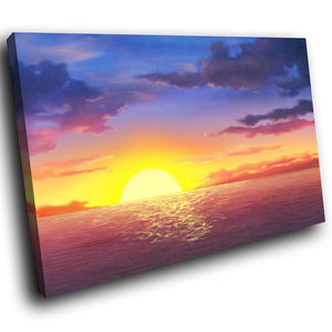 SC024 Framed Canvas Print Colourful Modern Scenic Wall Art - Blue Pink Sea Sunset Nature-Canvas Print-WhatsOnYourWall