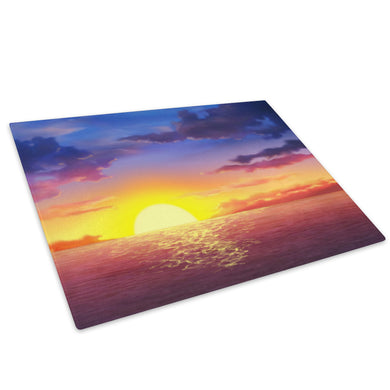 Purple Pink Blue Sunset Glass Chopping Board Kitchen Worktop Saver Protector - C024-Scenic Chopping Board-WhatsOnYourWall
