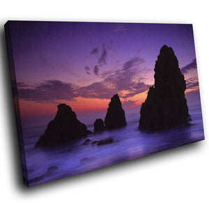 SC025 Framed Canvas Print Colourful Modern Scenic Wall Art - Purple Pink Blue Sunset Nature-Canvas Print-WhatsOnYourWall