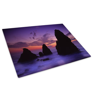 Purple Pink Blue Sunset Glass Chopping Board Kitchen Worktop Saver Protector - C025-Scenic Chopping Board-WhatsOnYourWall