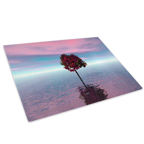 Pink Blue White Tree Nature Glass Chopping Board Kitchen Worktop Saver Protector - C026-Scenic Chopping Board-WhatsOnYourWall