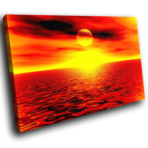 SC027 Framed Canvas Print Colourful Modern Scenic Wall Art - Orange Red Sunset Nature-Canvas Print-WhatsOnYourWall