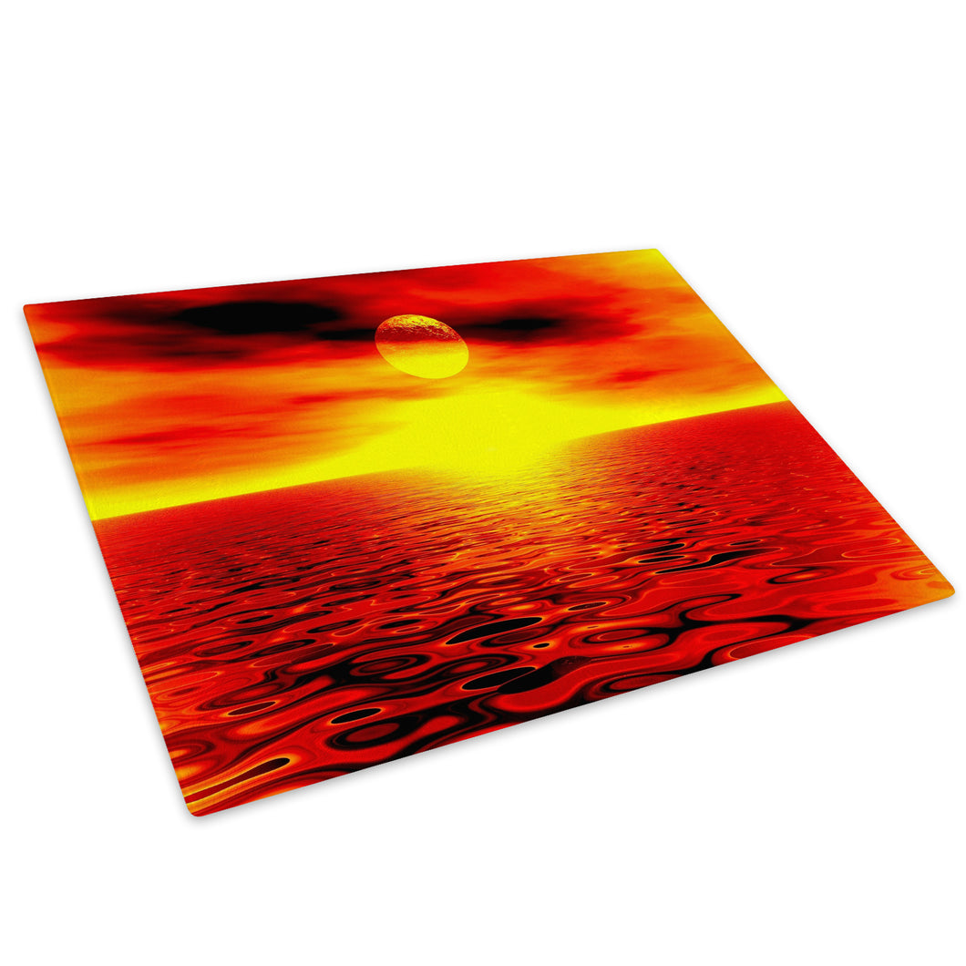 Orange Red Sunset Nature Glass Chopping Board Kitchen Worktop Saver Protector - C027-Scenic Chopping Board-WhatsOnYourWall