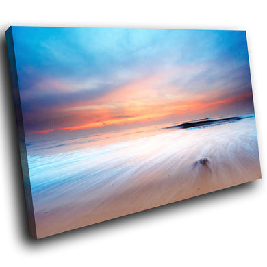 SC028 Framed Canvas Print Colourful Modern Scenic Wall Art - Blue Orange Beach Nature-Canvas Print-WhatsOnYourWall