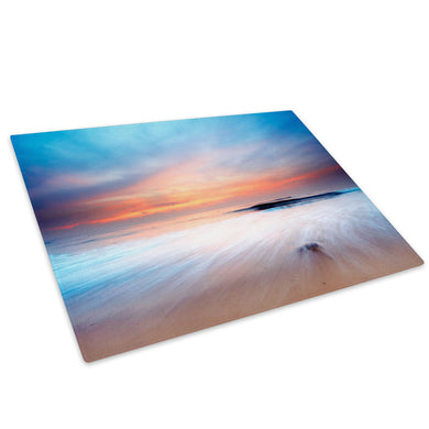 Blue Orange Beach Nature Glass Chopping Board Kitchen Worktop Saver Protector - C028-Scenic Chopping Board-WhatsOnYourWall