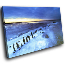 SC029 Framed Canvas Print Colourful Modern Scenic Wall Art - Blue White Beach Nature Cool-Canvas Print-WhatsOnYourWall