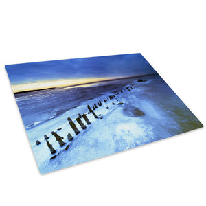 Blue White Beach Nature Glass Chopping Board Kitchen Worktop Saver Protector - C029-Scenic Chopping Board-WhatsOnYourWall