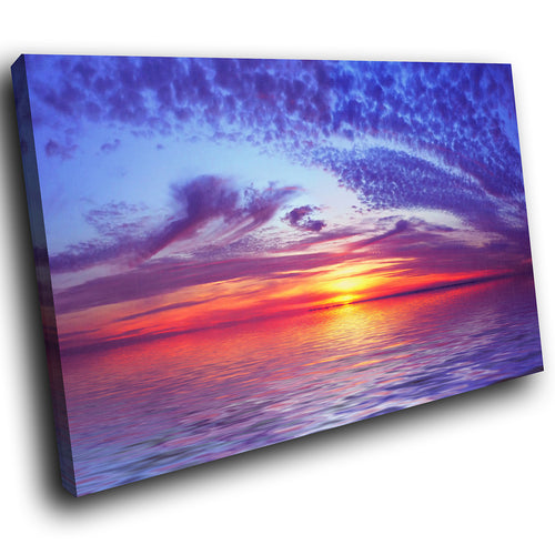 SC030 Framed Canvas Print Colourful Modern Scenic Wall Art - Blue Pink Red Beach Sunset-Canvas Print-WhatsOnYourWall
