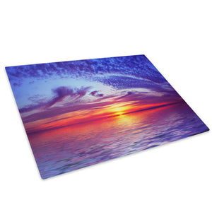 Blue Pink Red Beach Sunset Glass Chopping Board Kitchen Worktop Saver Protector - C030-Scenic Chopping Board-WhatsOnYourWall
