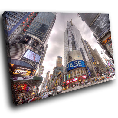 SC031 Framed Canvas Print Colourful Modern Scenic Wall Art - Times Square New York Cool-Canvas Print-WhatsOnYourWall