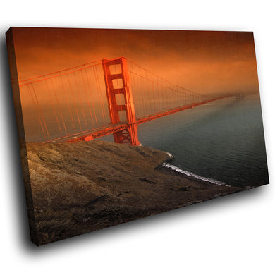 SC032 Framed Canvas Print Colourful Modern Scenic Wall Art - Golden Gate Bridge Funky-Canvas Print-WhatsOnYourWall