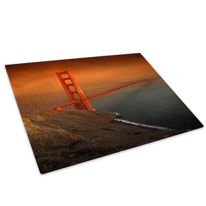 Golden Gate Bridge Funky Glass Chopping Board Kitchen Worktop Saver Protector - C032-Scenic Chopping Board-WhatsOnYourWall