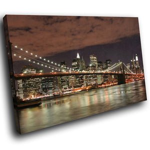 SC033 Framed Canvas Print Colourful Modern Scenic Wall Art - Brooklyn Bridge New York-Canvas Print-WhatsOnYourWall