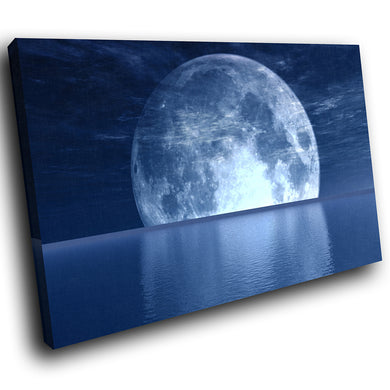SC034 Framed Canvas Print Colourful Modern Scenic Wall Art - Blue Moon Ocean Nature Cool-Canvas Print-WhatsOnYourWall