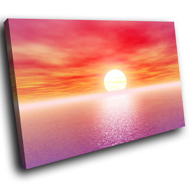 SC035 Framed Canvas Print Colourful Modern Scenic Wall Art - Purple Pink Ocean Sunset Nature-Canvas Print-WhatsOnYourWall