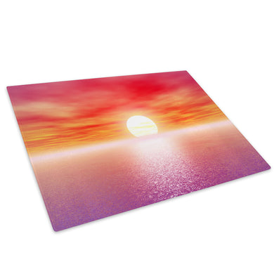 Purple Pink Ocean Sunset Glass Chopping Board Kitchen Worktop Saver Protector - C035-Scenic Chopping Board-WhatsOnYourWall