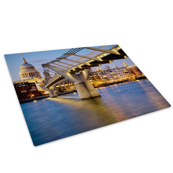 Blue Yellow Bridge London Glass Chopping Board Kitchen Worktop Saver Protector - C036-Scenic Chopping Board-WhatsOnYourWall