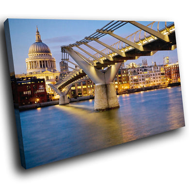 SC036 Framed Canvas Print Colourful Modern Scenic Wall Art - Blue Yellow Bridge London-Canvas Print-WhatsOnYourWall