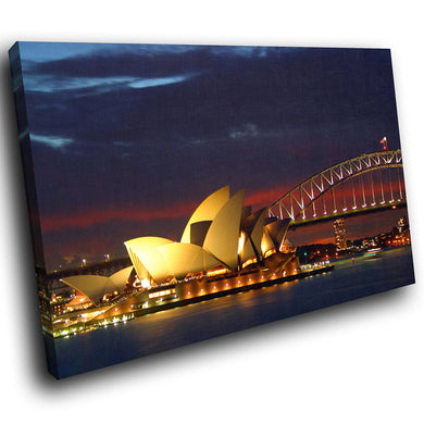 SC037 Framed Canvas Print Colourful Modern Scenic Wall Art - Sydney Opera House Cool-Canvas Print-WhatsOnYourWall