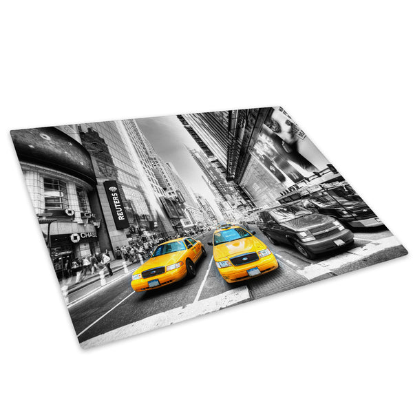 New York Taxi Black White Glass Chopping Board Kitchen Worktop Saver Protector - C038-Scenic Chopping Board-WhatsOnYourWall