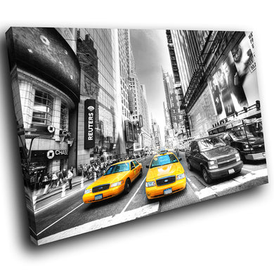 SC038 Framed Canvas Print Colourful Modern Scenic Wall Art - New York Taxi Black White-Canvas Print-WhatsOnYourWall