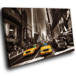 SC039 Framed Canvas Print Colourful Modern Scenic Wall Art - New York Taxi Brown White-Canvas Print-WhatsOnYourWall