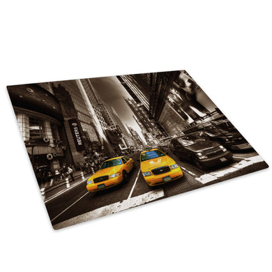 New York Taxi Brown White Glass Chopping Board Kitchen Worktop Saver Protector - C039-Scenic Chopping Board-WhatsOnYourWall