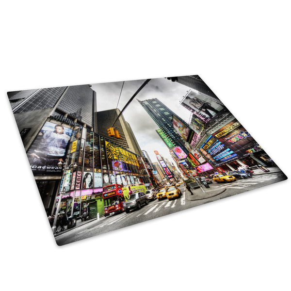 Colourful Times Square Glass Chopping Board Kitchen Worktop Saver Protector - C040-Scenic Chopping Board-WhatsOnYourWall