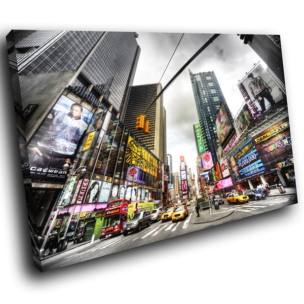 SC040 Framed Canvas Print Colourful Modern Scenic Wall Art - Colourful Times Square New York-Canvas Print-WhatsOnYourWall