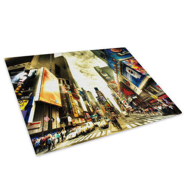 Colourful Times Square Glass Chopping Board Kitchen Worktop Saver Protector - C041-Scenic Chopping Board-WhatsOnYourWall