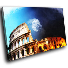 SC042 Framed Canvas Print Colourful Modern Scenic Wall Art - Blue Yellow Moon Rome Nature-Canvas Print-WhatsOnYourWall