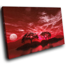 SC043 Framed Canvas Print Colourful Modern Scenic Wall Art - Red Black White Tree Nature-Canvas Print-WhatsOnYourWall