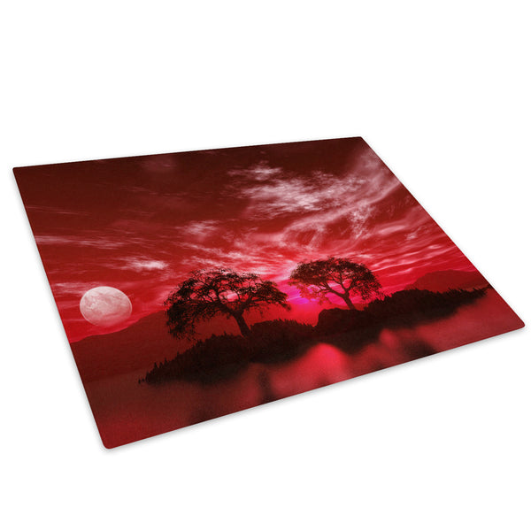 Red Black White Tree Nature Glass Chopping Board Kitchen Worktop Saver Protector - C043-Scenic Chopping Board-WhatsOnYourWall