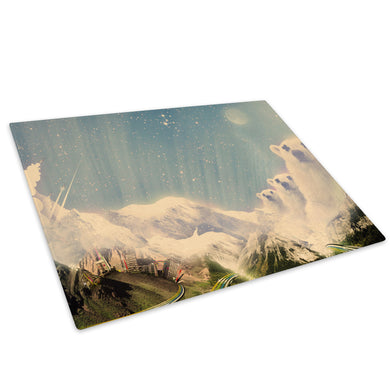 Snow Polar Bear Mountain Glass Chopping Board Kitchen Worktop Saver Protector - C044-Scenic Chopping Board-WhatsOnYourWall