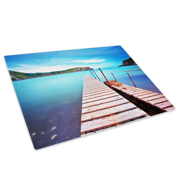 Blue Beach Pier Nature Cool Glass Chopping Board Kitchen Worktop Saver Protector - C045-Scenic Chopping Board-WhatsOnYourWall